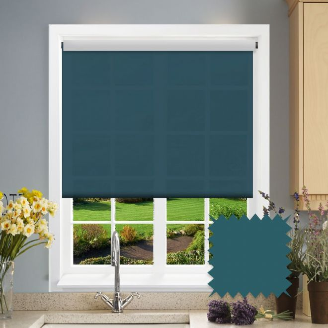 Teal Roller Blind - Astral Mambo Plain - Just Blinds